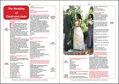 Wedding ceremony on double page spread